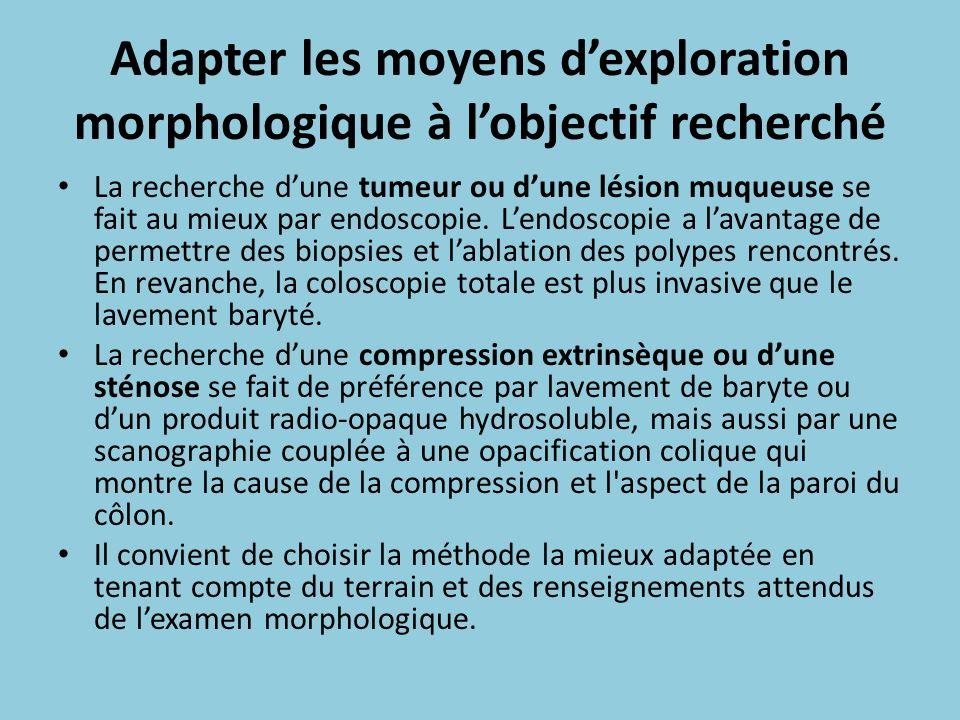 Adapter les moyens dexploration morphologique à lobjectif recherché La recherche dune tumeur ou dune lésion muqueuse se fait au mieux par endoscopie.