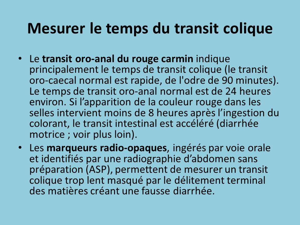 Mesurer le temps du transit colique Le transit oro-anal du rouge carmin indique principalement le temps de transit colique (le transit oro-caecal norm