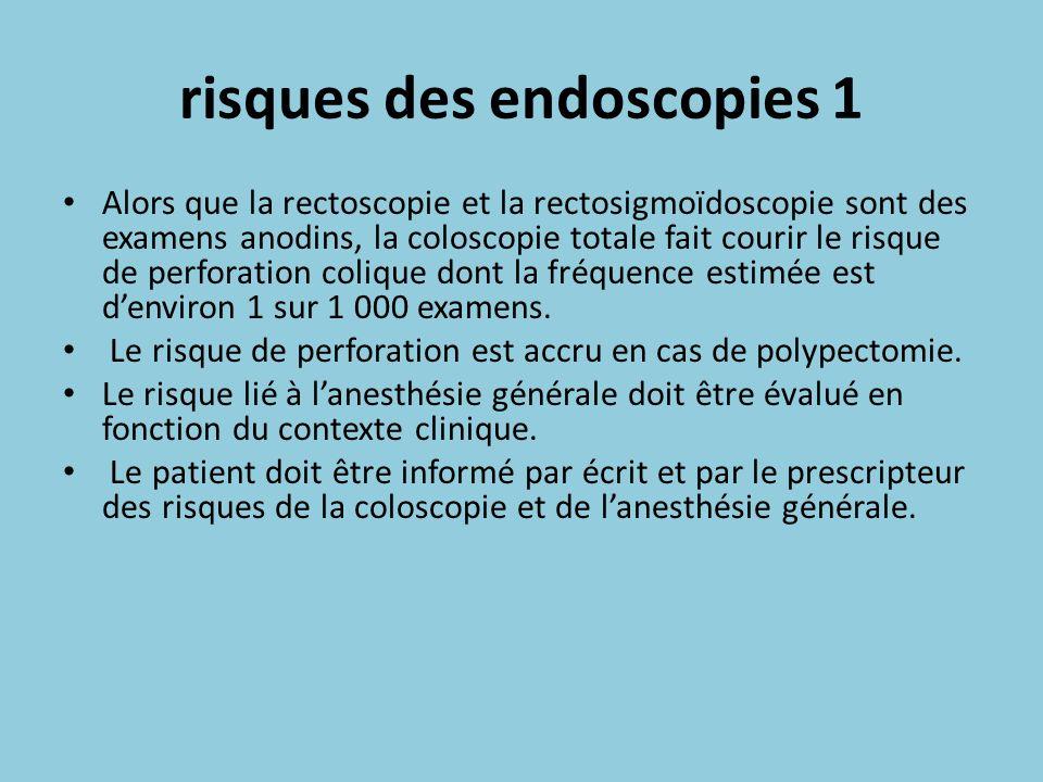 risques des endoscopies 1 Alors que la rectoscopie et la rectosigmoïdoscopie sont des examens anodins, la coloscopie totale fait courir le risque de p