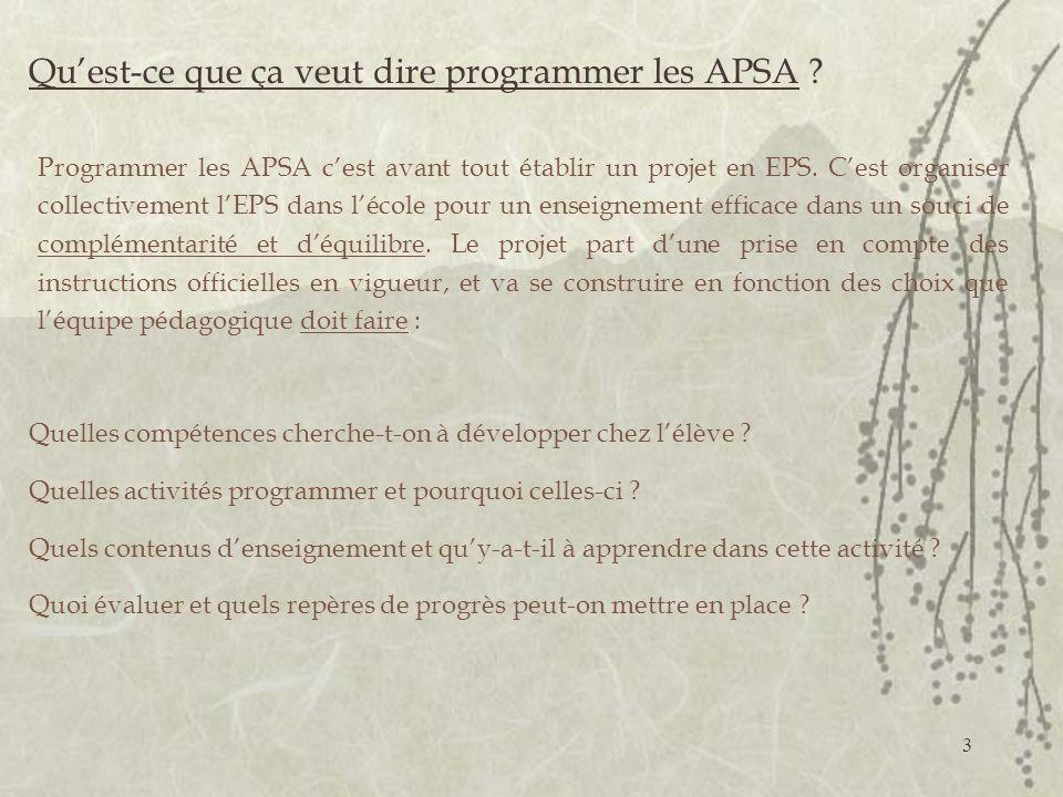 3 Quest-ce que ça veut dire programmer les APSA .