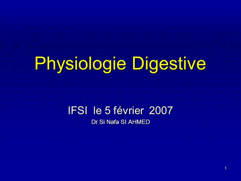 1 Physiologie Digestive IFSI le 5 février 2007 Dr Si Nafa SI AHMED