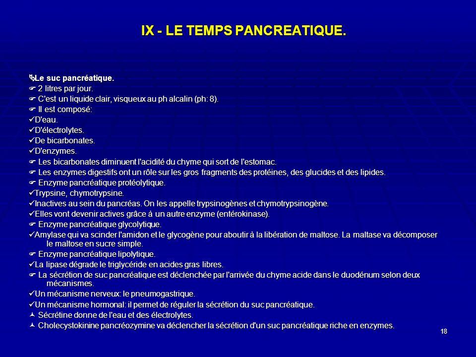18 IX - LE TEMPS PANCREATIQUE. Le suc pancréatique. Le suc pancréatique. 2 litres par jour. 2 litres par jour. C'est un liquide clair, visqueux au ph