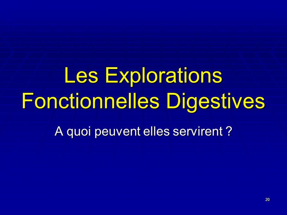 20 Les Explorations Fonctionnelles Digestives A quoi peuvent elles servirent ?