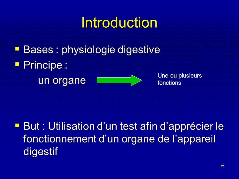 21 Introduction Bases : physiologie digestive Bases : physiologie digestive Principe : Principe : un organe un organe But : Utilisation dun test afin