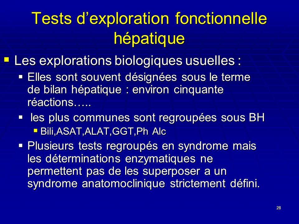28 Tests dexploration fonctionnelle hépatique Les explorations biologiques usuelles : Les explorations biologiques usuelles : Elles sont souvent désig