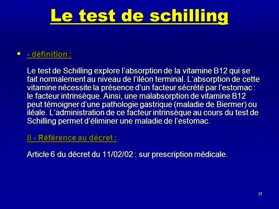37 Le test de schilling - définition : Le test de Schilling explore labsorption de la vitamine B12 qui se fait normalement au niveau de liléon termina