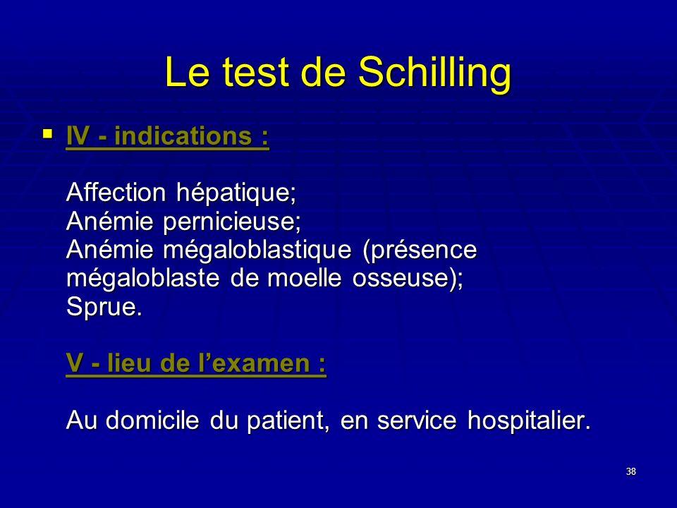 38 Le test de Schilling IV - indications : Affection hépatique; Anémie pernicieuse; Anémie mégaloblastique (présence mégaloblaste de moelle osseuse);