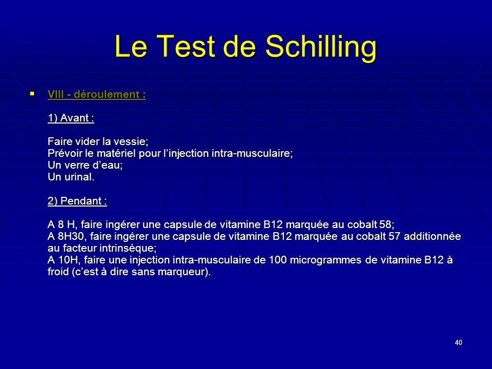 40 Le Test de Schilling VIII - déroulement : 1) Avant : Faire vider la vessie; Prévoir le matériel pour linjection intra-musculaire; Un verre deau; Un