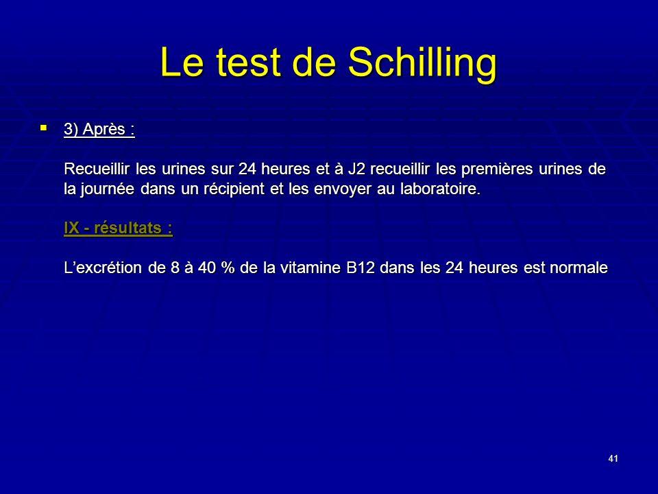 41 Le test de Schilling 3) Après : Recueillir les urines sur 24 heures et à J2 recueillir les premières urines de la journée dans un récipient et les