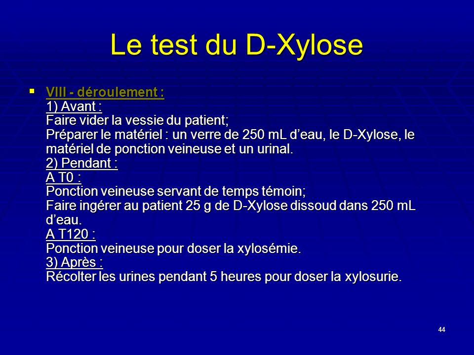 44 Le test du D-Xylose VIII - déroulement : 1) Avant : Faire vider la vessie du patient; Préparer le matériel : un verre de 250 mL deau, le D-Xylose,