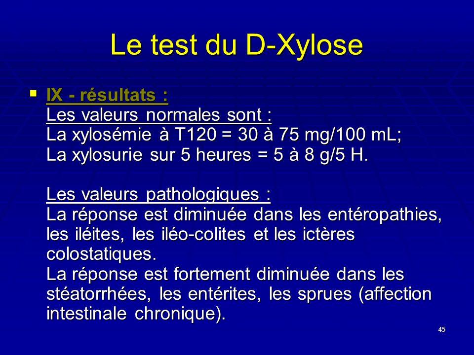 45 Le test du D-Xylose IX - résultats : Les valeurs normales sont : La xylosémie à T120 = 30 à 75 mg/100 mL; La xylosurie sur 5 heures = 5 à 8 g/5 H.