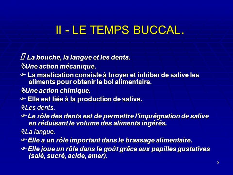 5 II - LE TEMPS BUCCAL. La bouche, la langue et les dents. La bouche, la langue et les dents. Une action mécanique. Une action mécanique. La masticati