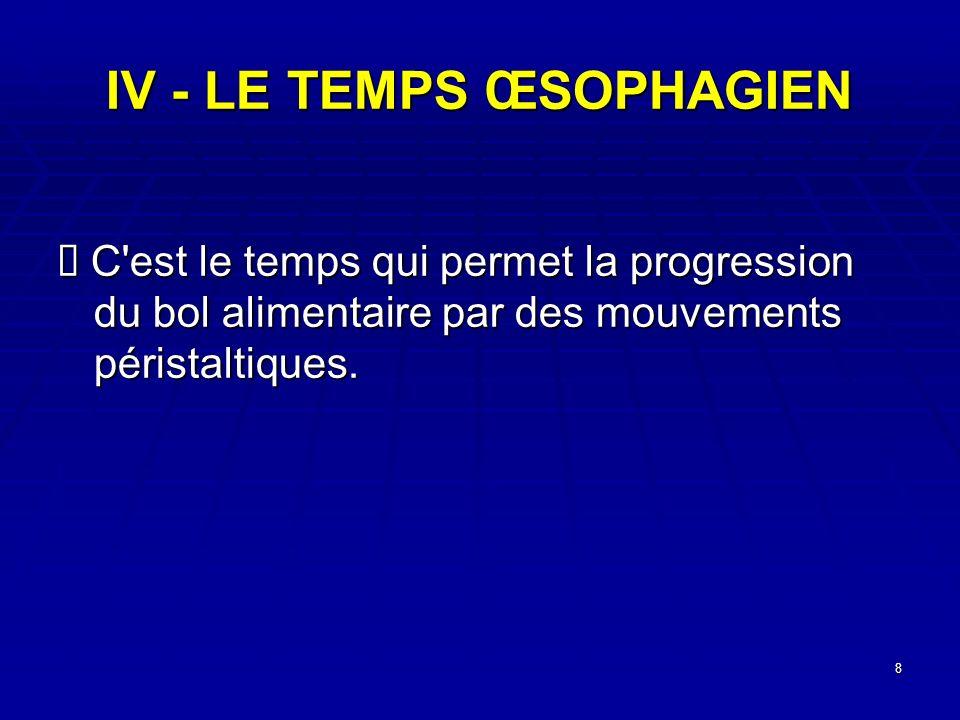 8 IV - LE TEMPS ŒSOPHAGIEN C'est le temps qui permet la progression du bol alimentaire par des mouvements péristaltiques. C'est le temps qui permet la