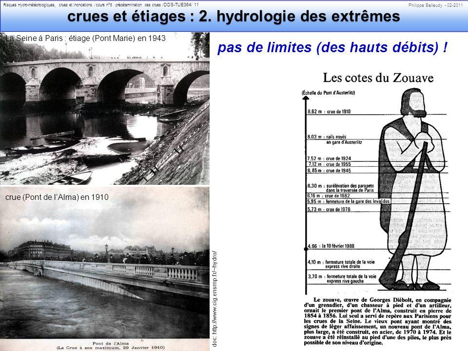 Philippe Belleudy - 02-2011 Risques Hydro-météorologiques, crues et inondations / cours n°6 : prédétermination des crues /DDS-TUE364/ 11 crues et étiages : 2.