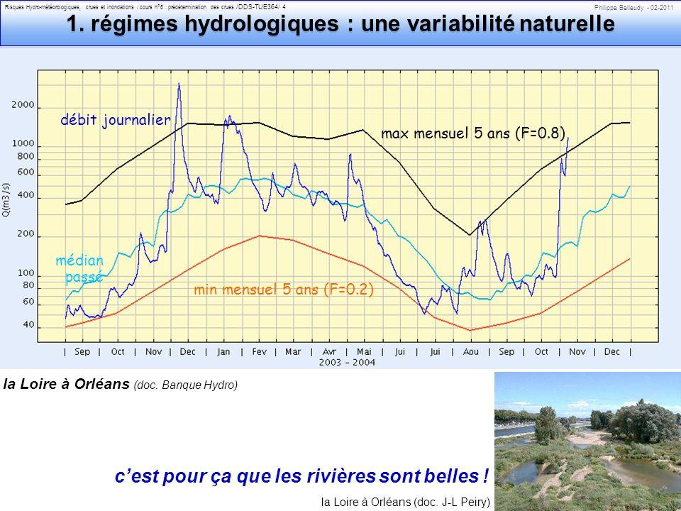 Philippe Belleudy - 02-2011 Risques Hydro-météorologiques, crues et inondations / cours n°6 : prédétermination des crues /DDS-TUE364/ 4 débit journalier min mensuel 5 ans (F=0.2) max mensuel 5 ans (F=0.8) médian passé la Loire à Orléans (doc.