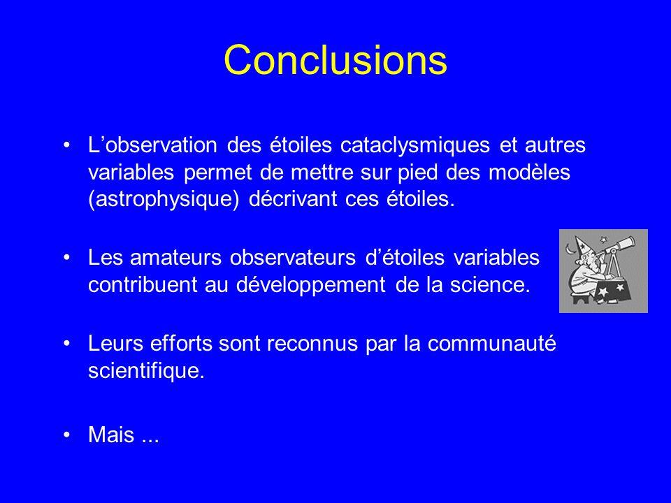 Conclusions Lobservation des étoiles cataclysmiques et autres variables permet de mettre sur pied des modèles (astrophysique) décrivant ces étoiles. L