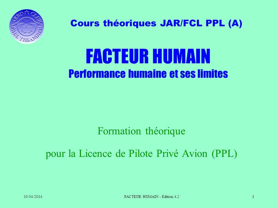 Cours théoriques JAR/FCL PPL (A) 30/04/2014FACTEUR HUMAIN - Edition 4.21 Formation théorique pour la Licence de Pilote Privé Avion (PPL) FACTEUR HUMAI
