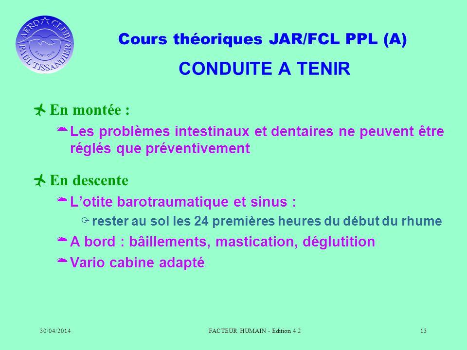 Cours théoriques JAR/FCL PPL (A) 30/04/2014FACTEUR HUMAIN - Edition 4.213 CONDUITE A TENIR En montée : Les problèmes intestinaux et dentaires ne peuve