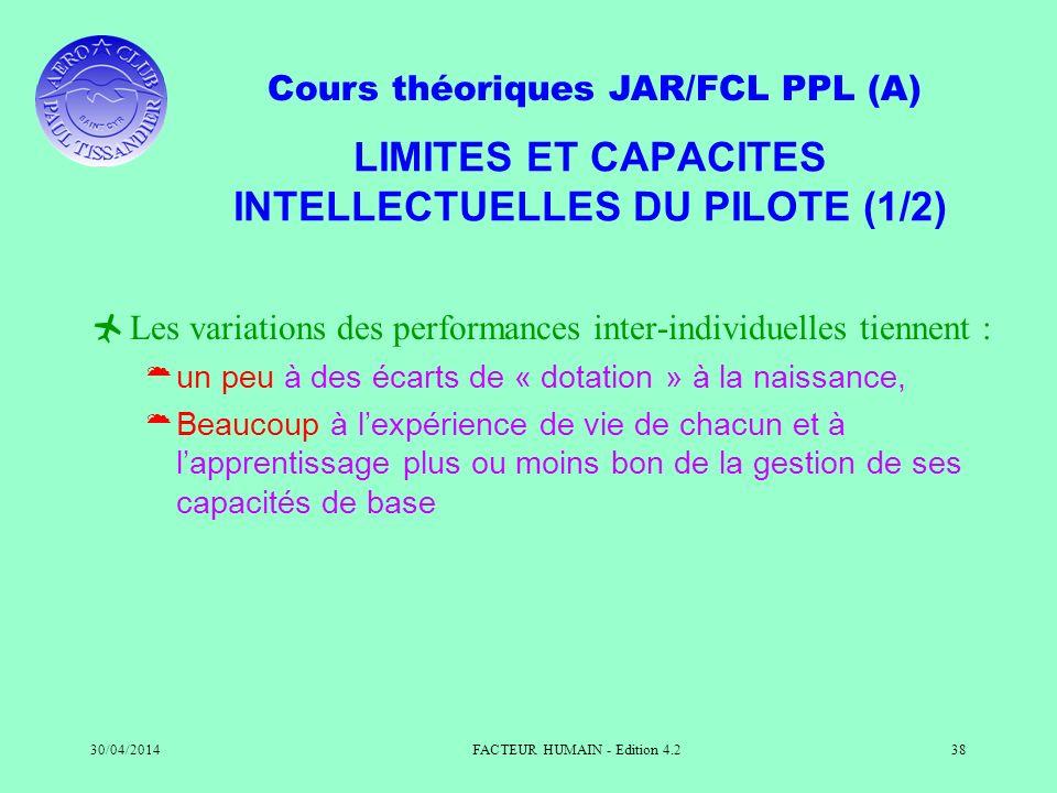 Cours théoriques JAR/FCL PPL (A) 30/04/2014FACTEUR HUMAIN - Edition 4.238 LIMITES ET CAPACITES INTELLECTUELLES DU PILOTE (1/2) Les variations des perf