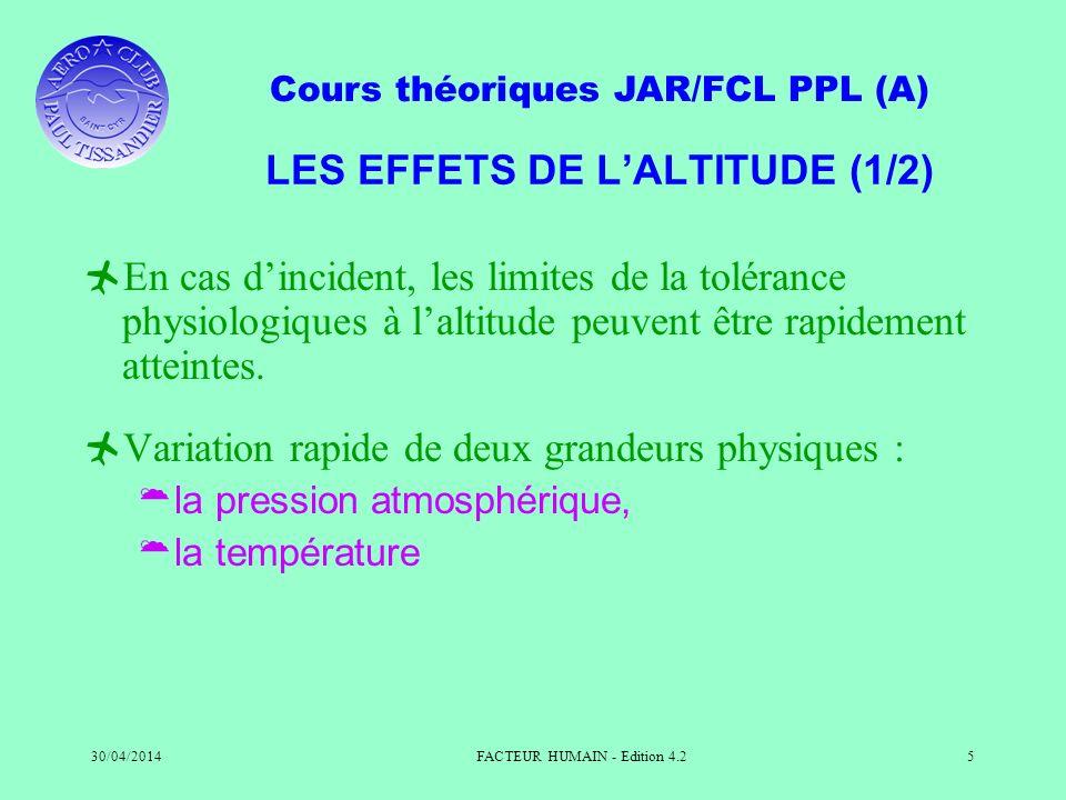 Cours théoriques JAR/FCL PPL (A) 30/04/2014FACTEUR HUMAIN - Edition 4.25 LES EFFETS DE LALTITUDE (1/2) En cas dincident, les limites de la tolérance p
