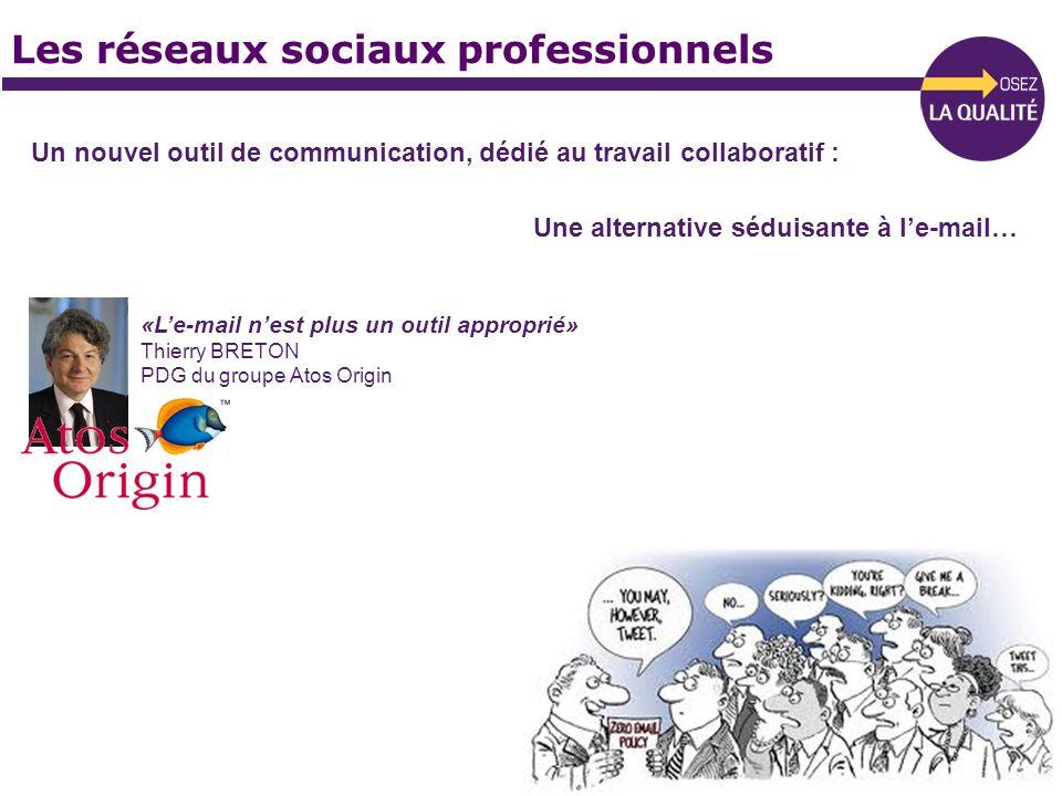 Les réseaux sociaux professionnels Un nouvel outil de communication, dédié au travail collaboratif : Une alternative séduisante à le-mail… «Le-mail ne