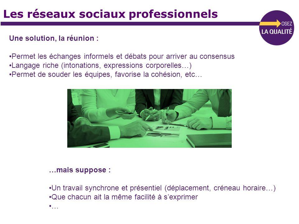 Les réseaux sociaux professionnels Une solution, la réunion : Permet les échanges informels et débats pour arriver au consensus Langage riche (intonat