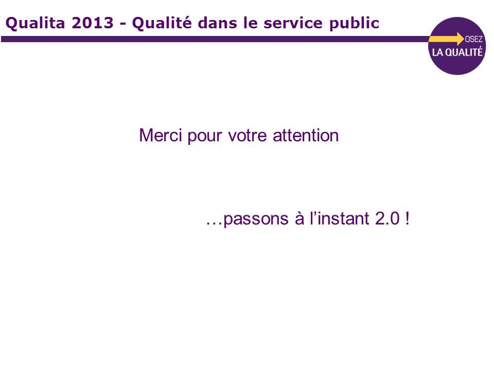 Qualita 2013 - Qualité dans le service public Merci pour votre attention …passons à linstant 2.0 !