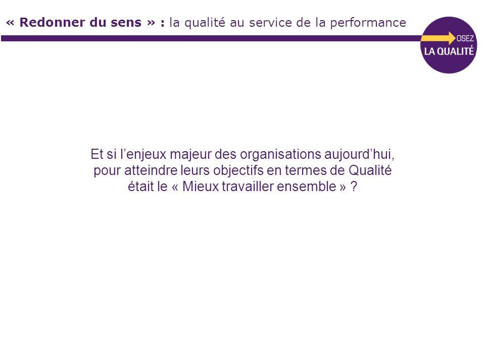 « Redonner du sens » : la qualité au service de la performance Et si lenjeux majeur des organisations aujourdhui, pour atteindre leurs objectifs en te
