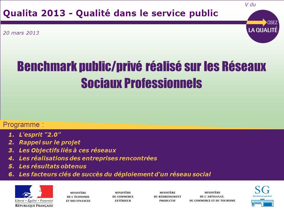 Programme : V du Qualita 2013 - Qualité dans le service public 20 mars 2013 1.L'esprit