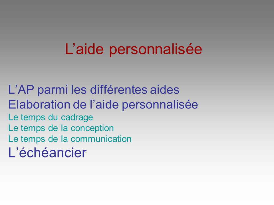 LAP parmi les différentes aides Elaboration de laide personnalisée Le temps du cadrage Le temps de la conception Le temps de la communication Léchéancier Laide personnalisée