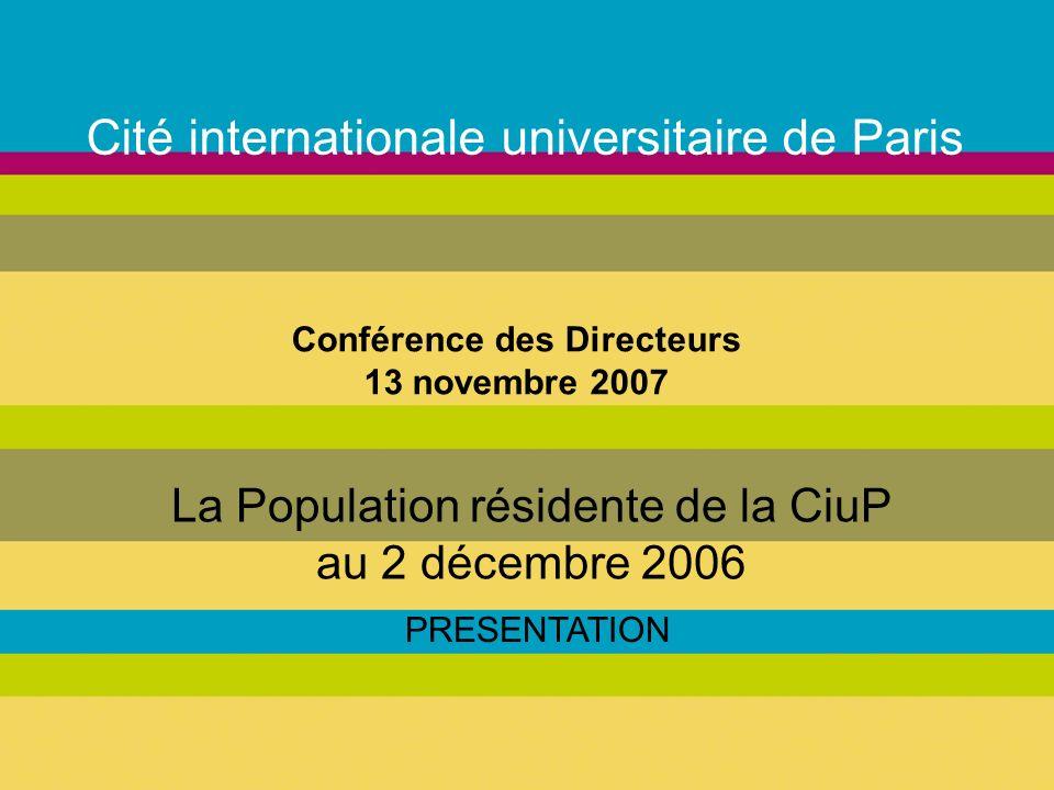 Cité internationale universitaire de Paris La Population résidente de la CiuP au 2 décembre 2006 PRESENTATION Conférence des Directeurs 13 novembre 2007