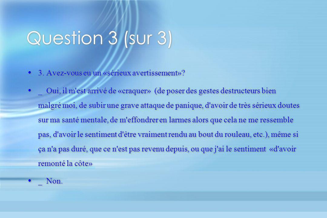 Question 3 (sur 3) 3. Avez-vous eu un «sérieux avertissement»? _ Oui, il m'est arrivé de «craquer» (de poser des gestes destructeurs bien malgré moi,