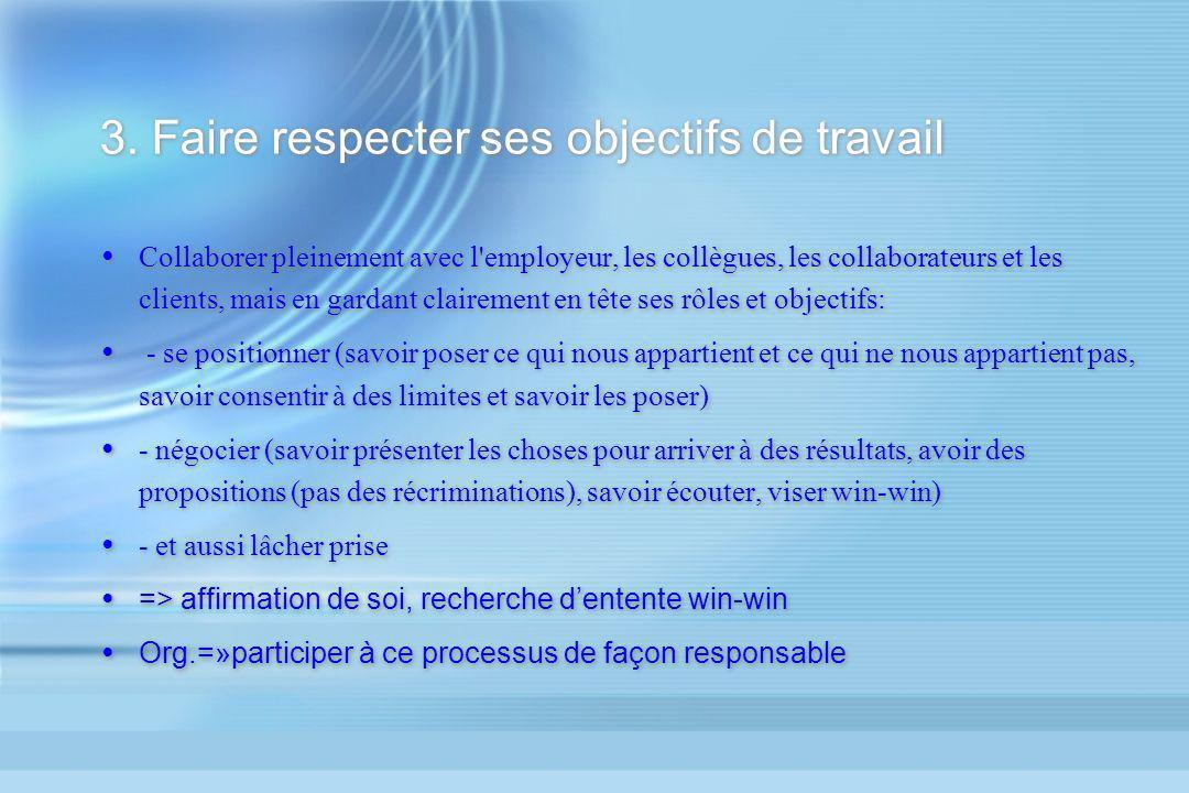 3. Faire respecter ses objectifs de travail Collaborer pleinement avec l'employeur, les collègues, les collaborateurs et les clients, mais en gardant