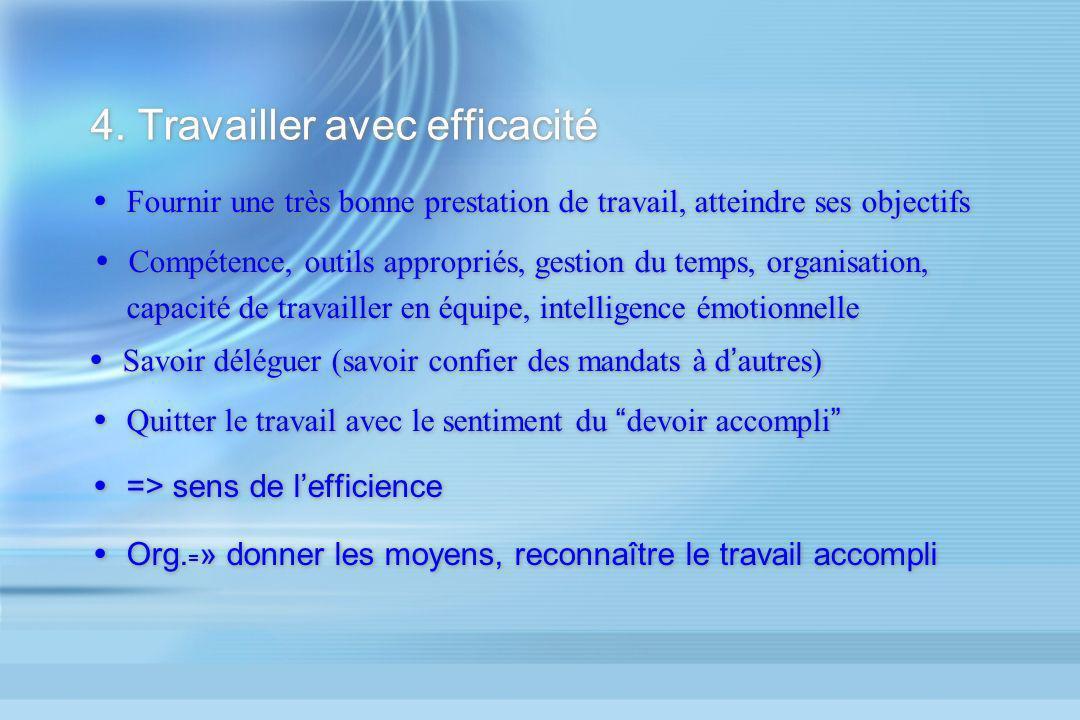 4. Travailler avec efficacité Fournir une très bonne prestation de travail, atteindre ses objectifs Compétence, outils appropriés, gestion du temps, o