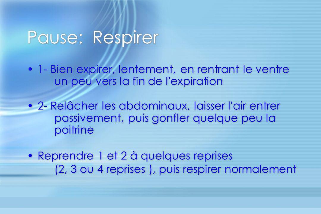 Pause: Respirer 1- Bien expirer, lentement, en rentrant le ventre un peu vers la fin de l expiration 2- Relâcher les abdominaux, laisser l air entrer