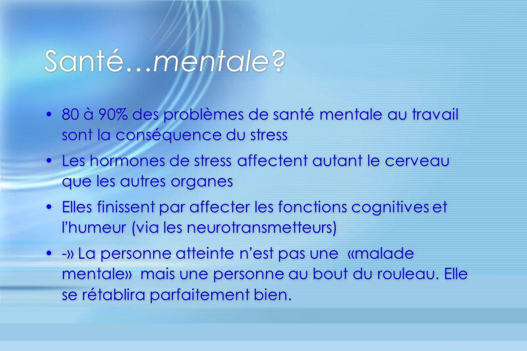 Santé…mentale? 80 à 90% des problèmes de santé mentale au travail sont la conséquence du stress Les hormones de stress affectent autant le cerveau que