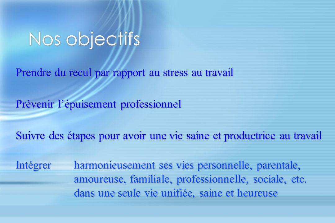 Nos objectifs Prendre du recul par rapport au stress au travail Prévenir lépuisement professionnel Suivre des étapes pour avoir une vie saine et produ