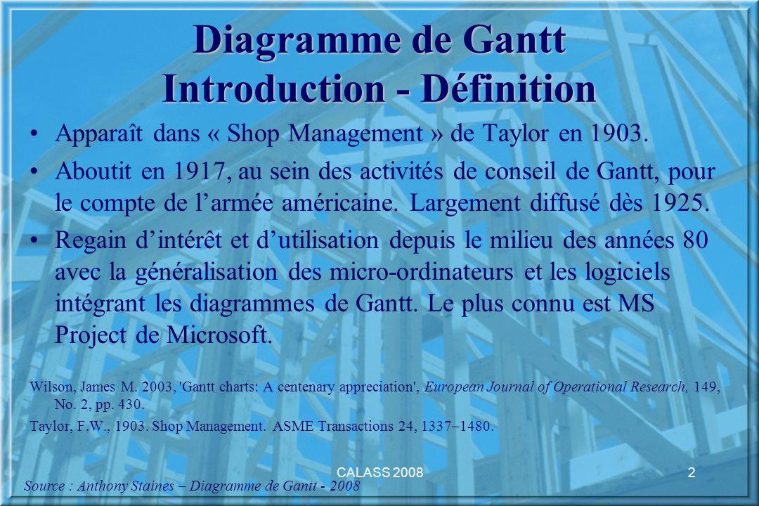 CALASS 20083 Diagramme de Gantt Introduction - Définition Le diagramme de Gantt est un outil standard de gestion de projet utilisé pour planifier efficacement les tâches et suivre ensuite leurs progressions.