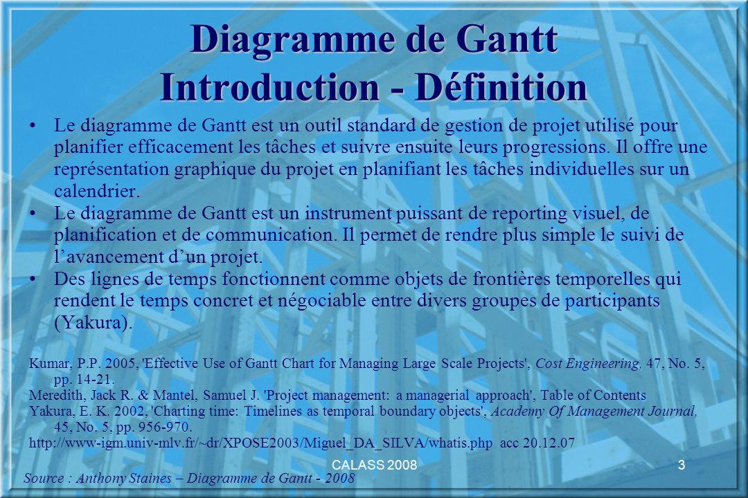 CALASS 20083 Diagramme de Gantt Introduction - Définition Le diagramme de Gantt est un outil standard de gestion de projet utilisé pour planifier effi