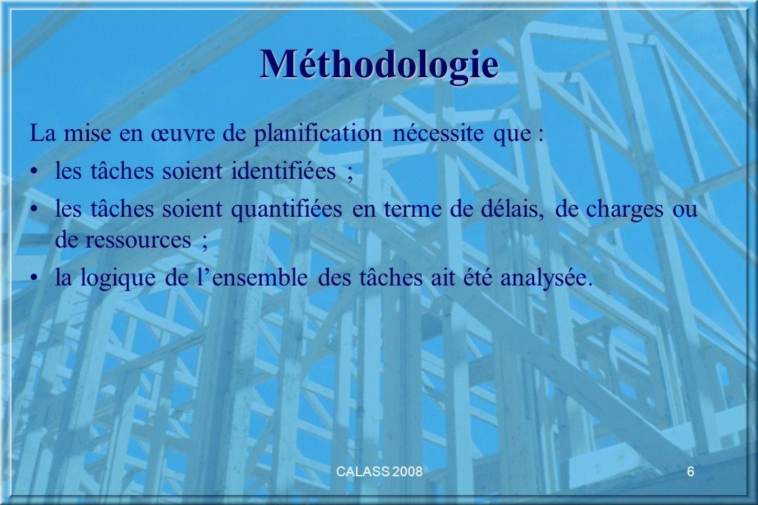 CALASS 20086 Méthodologie La mise en œuvre de planification nécessite que : les tâches soient identifiées ; les tâches soient quantifiées en terme de