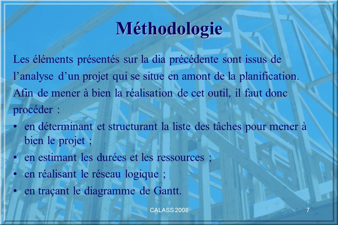 CALASS 20087 Méthodologie Les éléments présentés sur la dia précédente sont issus de lanalyse dun projet qui se situe en amont de la planification. Af