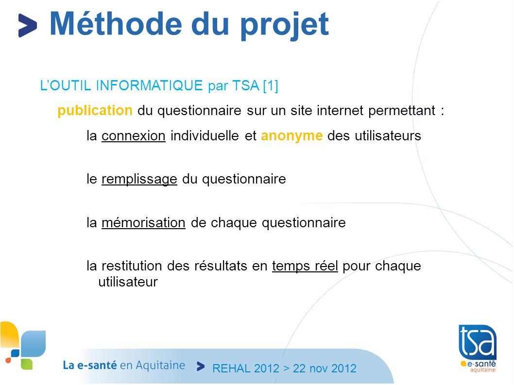 REHAL 2012 > 22 nov 2012 LOUTIL INFORMATIQUE par TSA [1] publication du questionnaire sur un site internet permettant : la connexion individuelle et a