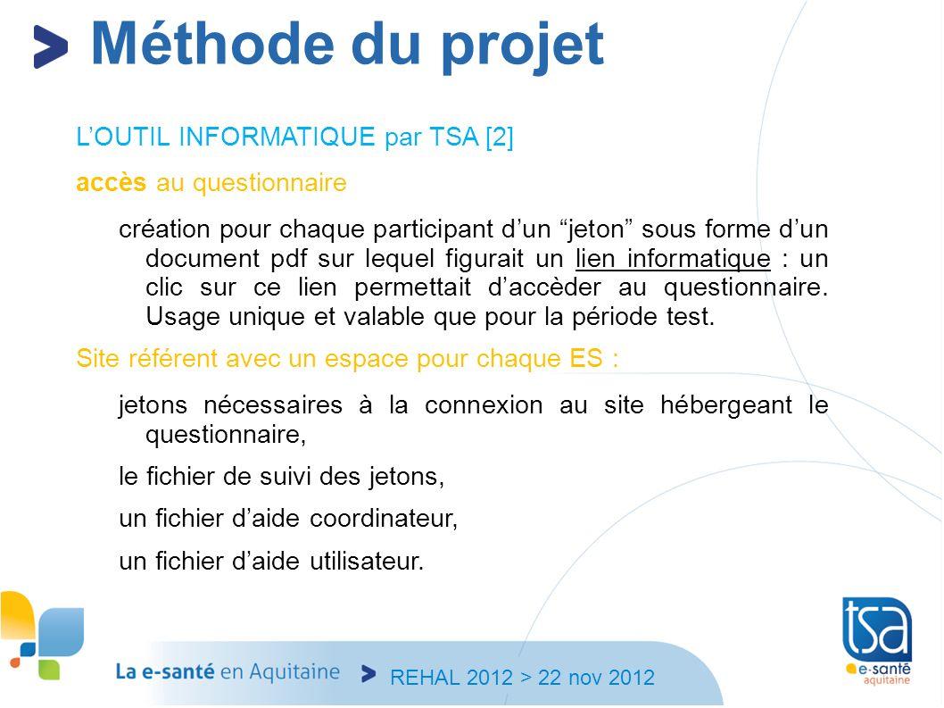 REHAL 2012 > 22 nov 2012 LOUTIL INFORMATIQUE par TSA [2] accès au questionnaire création pour chaque participant dun jeton sous forme dun document pdf