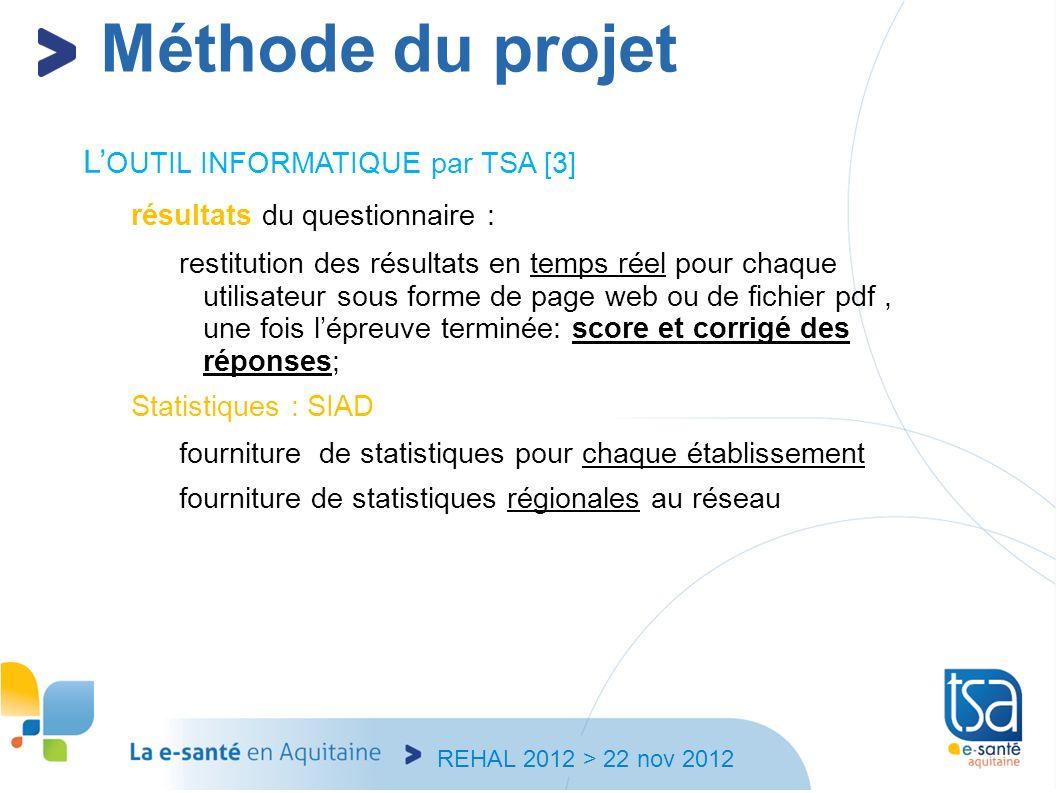 REHAL 2012 > 22 nov 2012 L OUTIL INFORMATIQUE par TSA [3] résultats du questionnaire : restitution des résultats en temps réel pour chaque utilisateur