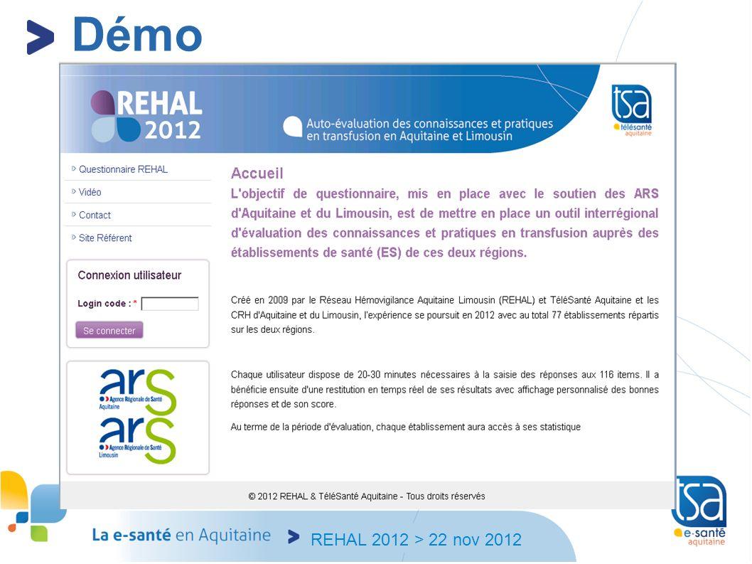 REHAL 2012 > 22 nov 2012 Démo