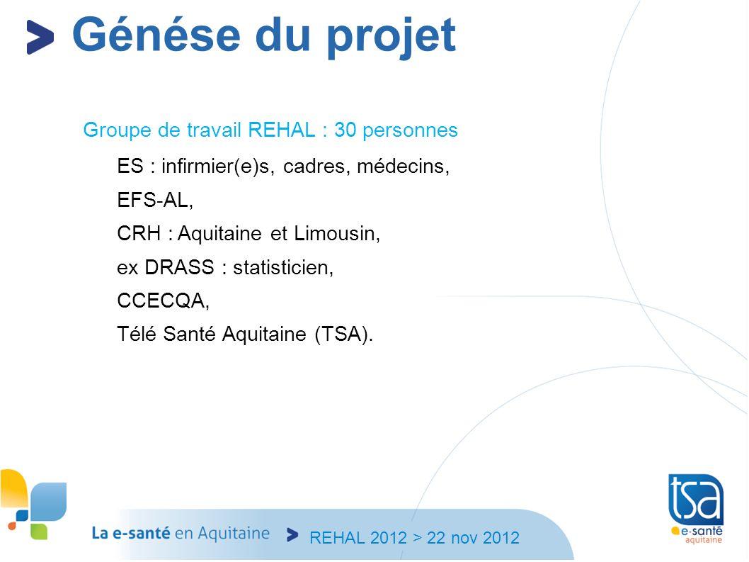 REHAL 2012 > 22 nov 2012 Groupe de travail REHAL : 30 personnes ES : infirmier(e)s, cadres, médecins, EFS-AL, CRH : Aquitaine et Limousin, ex DRASS :