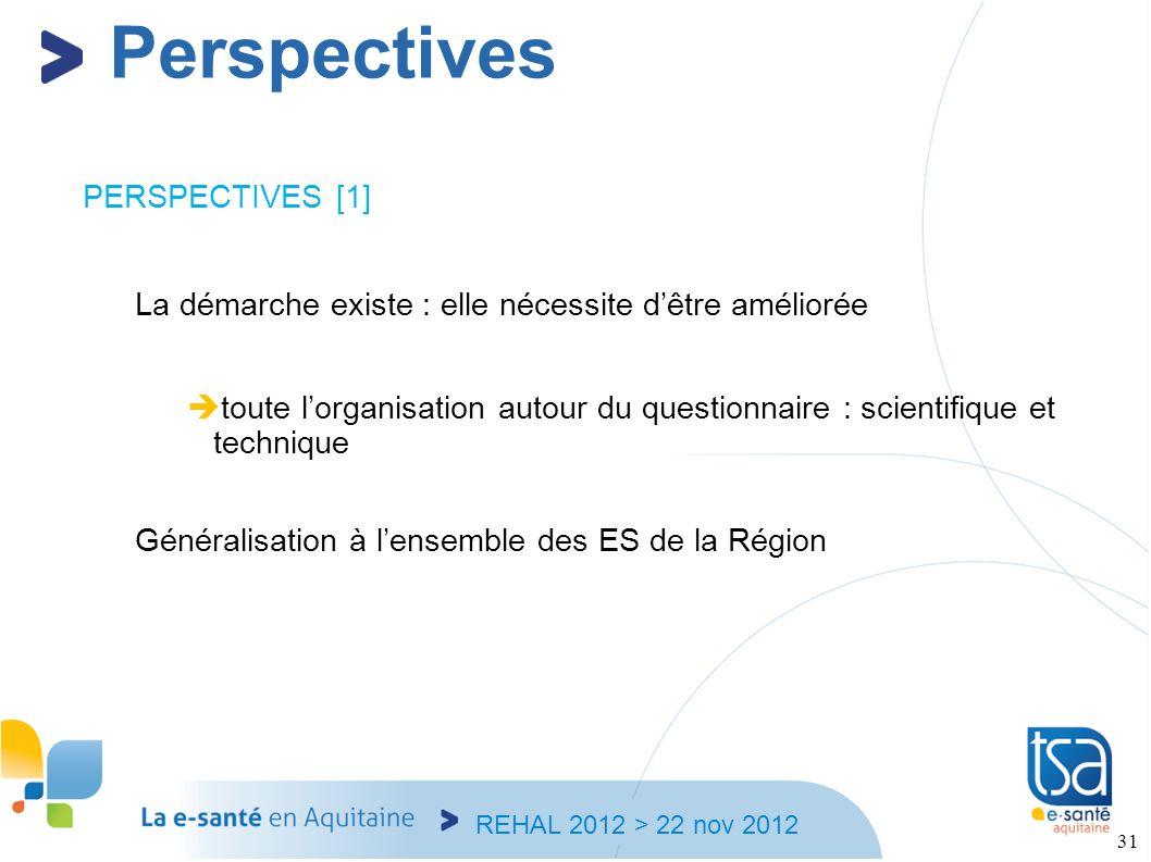 REHAL 2012 > 22 nov 2012 31 PERSPECTIVES [1] La démarche existe : elle nécessite dêtre améliorée toute lorganisation autour du questionnaire : scienti