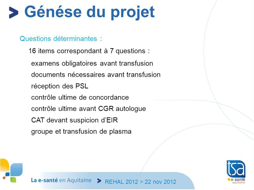 REHAL 2012 > 22 nov 2012 Questions déterminantes : 16 items correspondant à 7 questions : examens obligatoires avant transfusion documents nécessaires