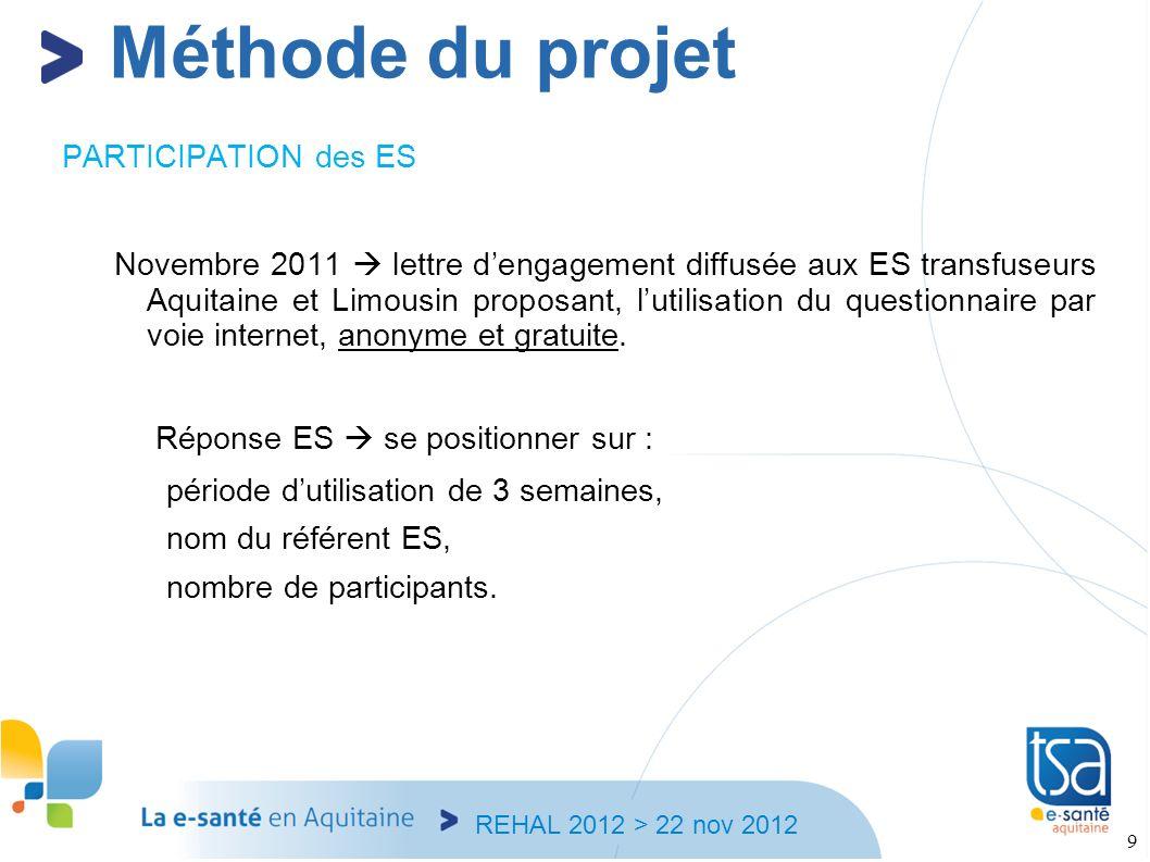 REHAL 2012 > 22 nov 2012 9 PARTICIPATION des ES Novembre 2011 lettre dengagement diffusée aux ES transfuseurs Aquitaine et Limousin proposant, lutilis