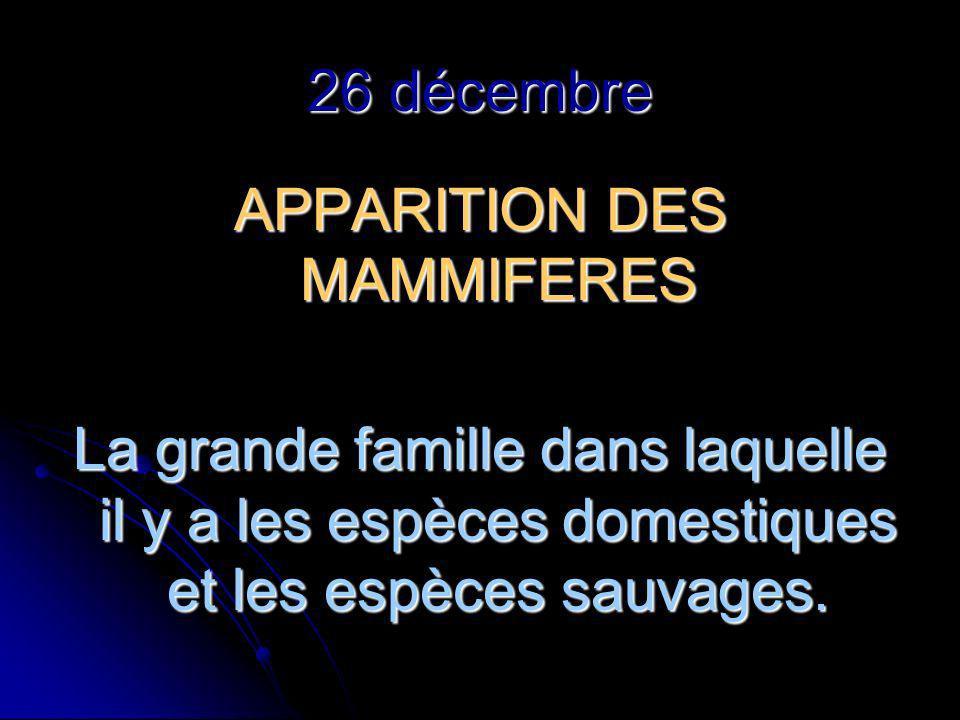 26 décembre APPARITION DES MAMMIFERES La grande famille dans laquelle il y a les espèces domestiques et les espèces sauvages.